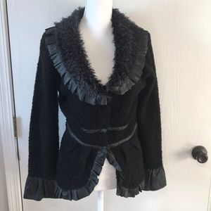 Roz and Ali cardigan black faux leather